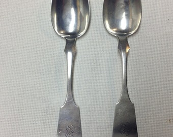 1830 Pair American Coin Silver Serving Spoons by S. E. Roberts Trenton NJ
