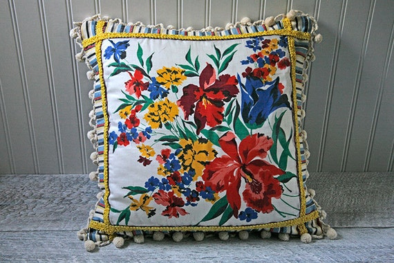 Retro Decorative Pillow Cover, Floral Handkerchief Pillow, Stripes, Striped, Flowers, Red, Yellow, Blue, White, Primary Colors, Colorful