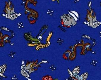 TATTOO on Blue, Cotton Baby Rib Knit Fabric, FQ 18 x 30 inches