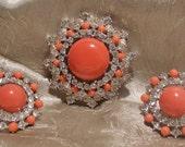Vintage Rhinestone Crown Trifari Brooch Set