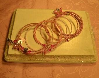 Pink Ribbon Awareness Crystal Memory Wire Bracelet