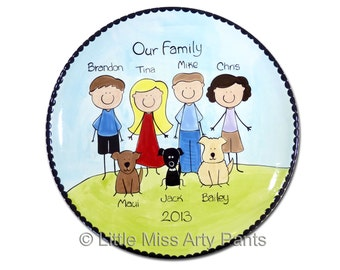 11 inch Hand Painted Family People Plate