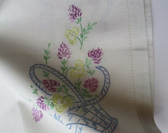 Vintage Blue Pink Yellow Floral Embroidered Table Runner