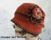 Instant Download Crochet Hat Pattern Brimmed Womens Cloche With Flower Trim  Easy To Make Resell finished