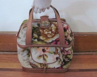 1960s Wool and Leather Travel Tote - vintage KORET carpet bag -  overnight bag, train case, weekender, overnighter with floral design