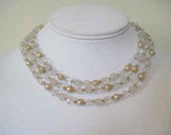 crystals and champagne - vintage 1950s multi-strand beaded necklace, choker, formal, pearls, bridal, glass beads, heirloom, something old