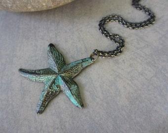 Starfish Necklace, Verdigris, Verde Gris, Nautical Necklace, Teal, Green, Antiqued Brass