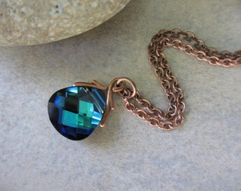 Blue Green Crystal Necklace, Swarovski Crystal with Copper, Aqua, Green Necklace, Irisjewelrydesign, Fashion