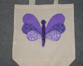 Cotton tote bag with butterfly applique