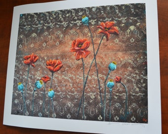 Sienna Poppies with Turquoise Pods Print