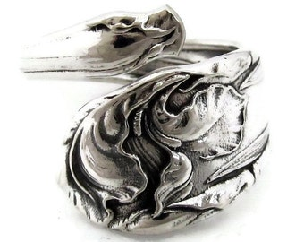 Silver Spoon Ring Fleur De Luce Iris Wrapped Art Nouveau