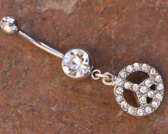 Blingin Peace Sign DeSIGNeR Belly Button Ring Simple Cute Blingy Romatic Fun