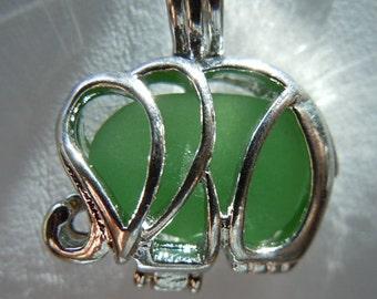 Elephant Locket Charm Necklace Sea Glass Beach Glass Necklace Seaglass Personalized Locket