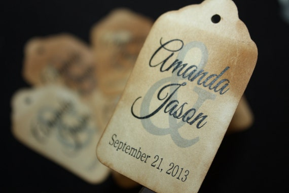 100 Personalized Bride and Groom Wedding Favor Tags with names & date