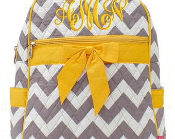 Personalized Backpack Chevron Gray Yellow Bookbag Quilted Monogrammed