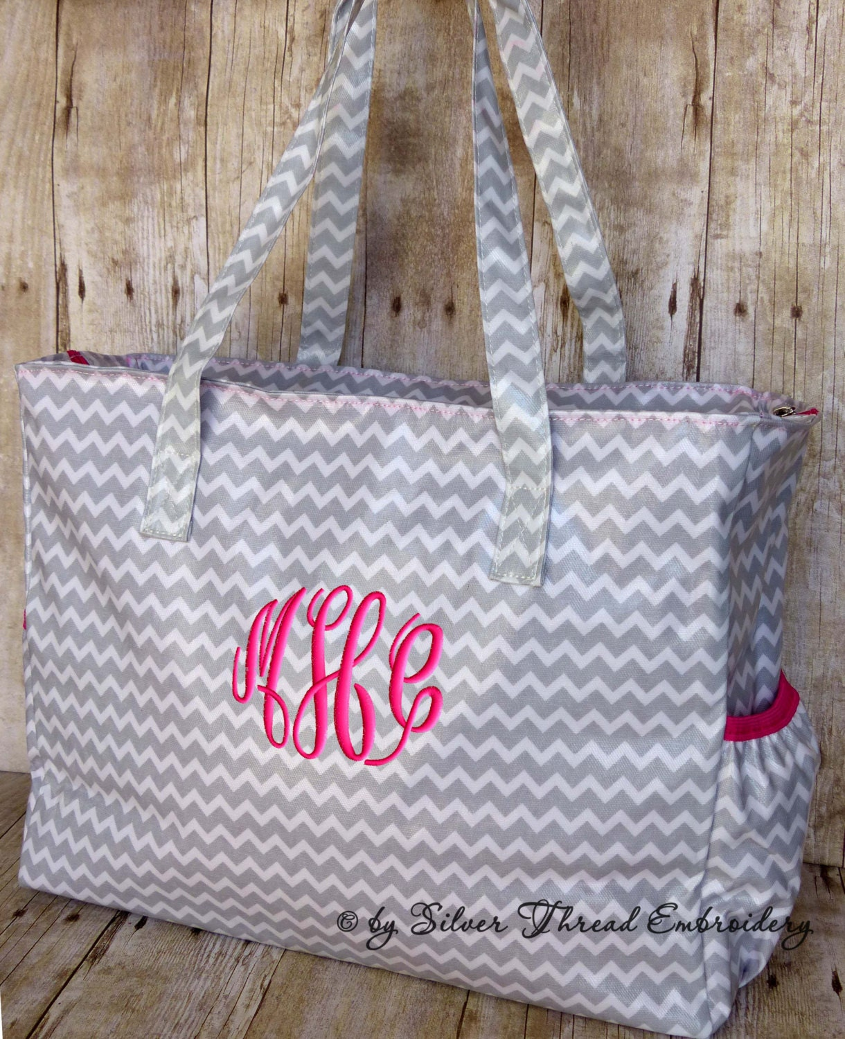 Personalized diaper bag chevron gray hot pink monogrammed