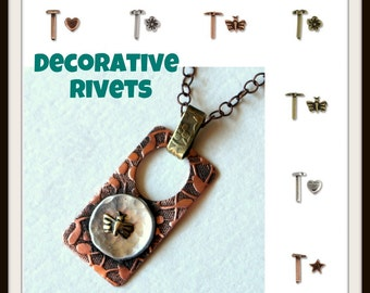 10 pc Decorative Rivets 8 x 1.5 mm in Antique  Brass, Copper, and Silver