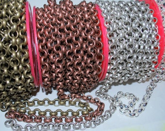 """SALE!! 2 Feet Extra Large 11mm Rolo Chain Chunky Antique Silver, Copper or Brass or Shiny Silver  24""""   - FREE Shipping USA"""