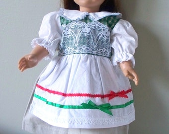 Handmade Doll Clothes Green Plaid Christmas Dress Fits 18 inch dolls