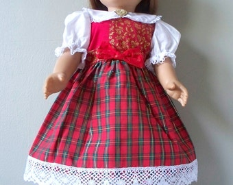 Handmade Doll Dress fits 18 inch dolls  Christmas plaid red dress, Handmade Vintage Inspired Doll Dress