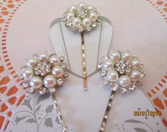 Rhinestone and Pearl Silverplated Bobby Pins, Three, Bridal, Wedding, In Your Hair, Clip Your Veil