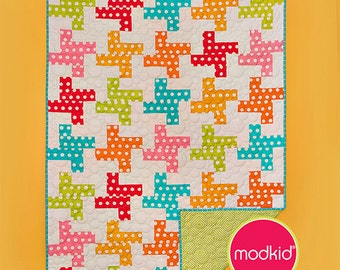 Patty Young Modkid Houndstooth Quilt Sewing Pattern, FREE SHIPPING