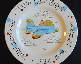 Personalized Hand Painted Airplane Themed Birth Announcement Plate