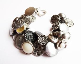 Silver button charm bracelet, vintage, antique, shank, unique, ooak, military, buttons, metal, boutones, knopf, botones
