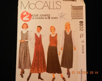 McCalls Uncut Jumper Pattern 8932 Misses Size C 10-14 Petite Able Neckline Variations Pleated Skirt and Side Openings