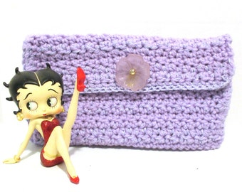 Crocheted Cosmetic Clutch Style Bag Light Lavender Sparkle