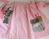 barkcloth apron . half apron .  appliqué apron . Pink Barkcloth Apron with Vegetable Appliques