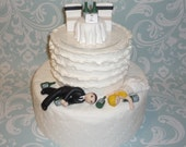 Drunk cake topper with table and chairs