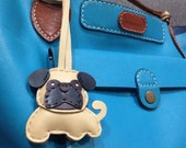 Bobby the Pug Leather Charm with leather strap ( Light Brown )