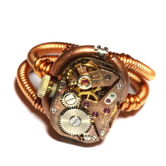 Steampunk Ring -  Antique Vintage Watch Movement  - SIZE 10.5 ONLY