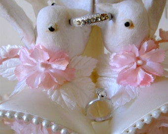 Vintage Wedding Cake Topper with Doves and Bells in Original Box White and Pink