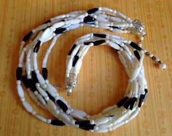 1950's Hong Kong Black White Multi Strand Necklace
