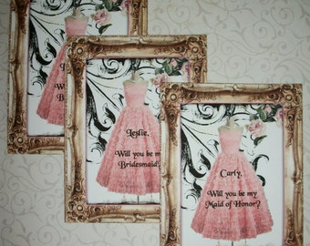 Will you be my bridesmaid - BRIDAL PARTY - Custom - Personalized - A set of 8 notecards and envelopes - PQQ 0223