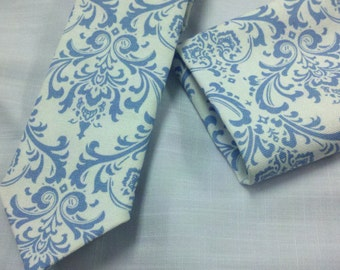 MENS BLUE DAMASK on White Necktie Set with Hanky pocket square in Madison Print Men's Tie Wedding Party blue damask