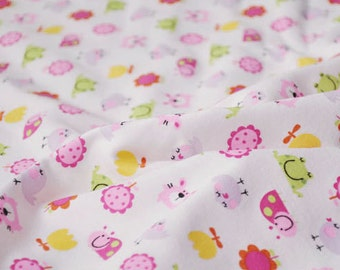 3656 - Ladybug Frog Bird Rabbit Flower Cotton Jersey Knit Fabric - 69 Inch (Width) x 1/2 Yard (Length)