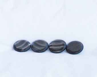 Buttons, black, striped, ridged, C, destash
