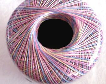 Aunt Lydias Crochet Thread, PASTELS VARIEGATED, size 10, multicolored rainbow, orchid pink blue green yellow