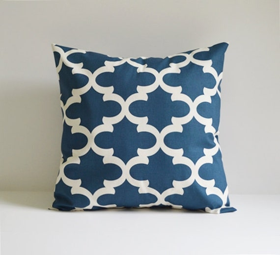 Decorative Throw Pillows Etsy : Items similar to Pillow Cover Decorative Pillows Quatrefoil Throw Pillows Blue Pillow Moroccan ...