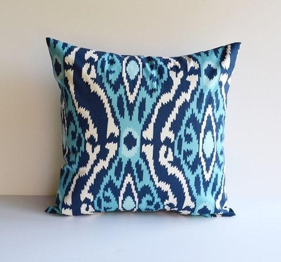 Items similar to Pillow Cover Ikat Pillow Throw Pillows Blue Pillow Decorative Pillow All Sizes ...