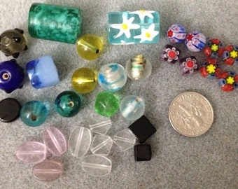 Various colors and shaped glass beads E5