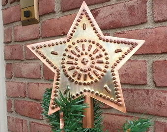 Copper Star Tree Topper 9 Inch Rustic Metal Wagon Wheel Design Hand Cut By West Tinworks