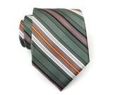 Mens Ties Necktie Green Brown Orange Stripes Mens Tie