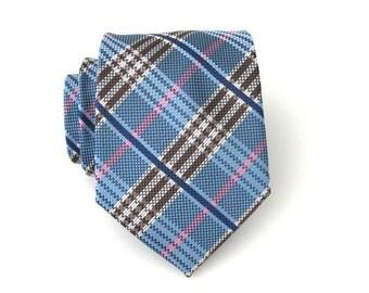 Mens Tie. Blue Brown Pink Plaid Mens Necktie