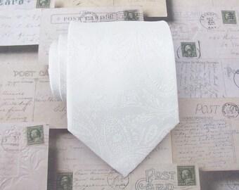 Necktie White Tonal Paisley Mens Tie With Matching Pocket Square Option