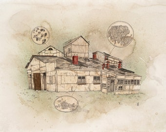 Out of Business/ In Production- watercolor print
