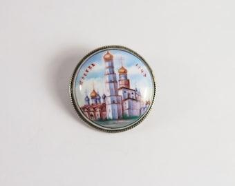 Russian Enamel Souvenir Brooch Vintage 70s Jewelry